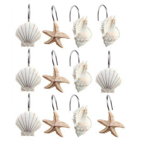 Image Shower Curtain Hooks Rings Set Of 12 Home Decorative Seashell Shell
