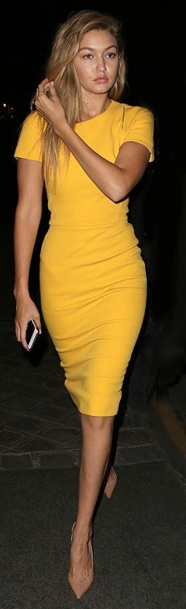 35db208816a Would be a great go to dress pattern for all sorts of fabrics and  designs-Gigi Hadid Yellow Midi Dress Fall Inspo