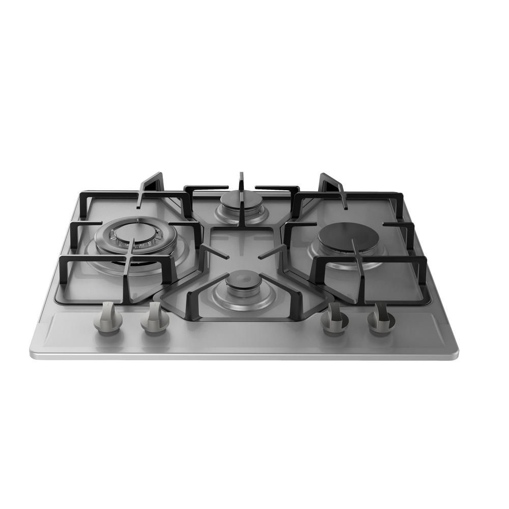 Empava 24 In Gas Stove Cooktop 4 Italy Sabaf Sealed Burners In Stainless Steel Empv 24gc4b67a The Home Depot Stainless Steel Gas Stove Cooktop Gas Stove