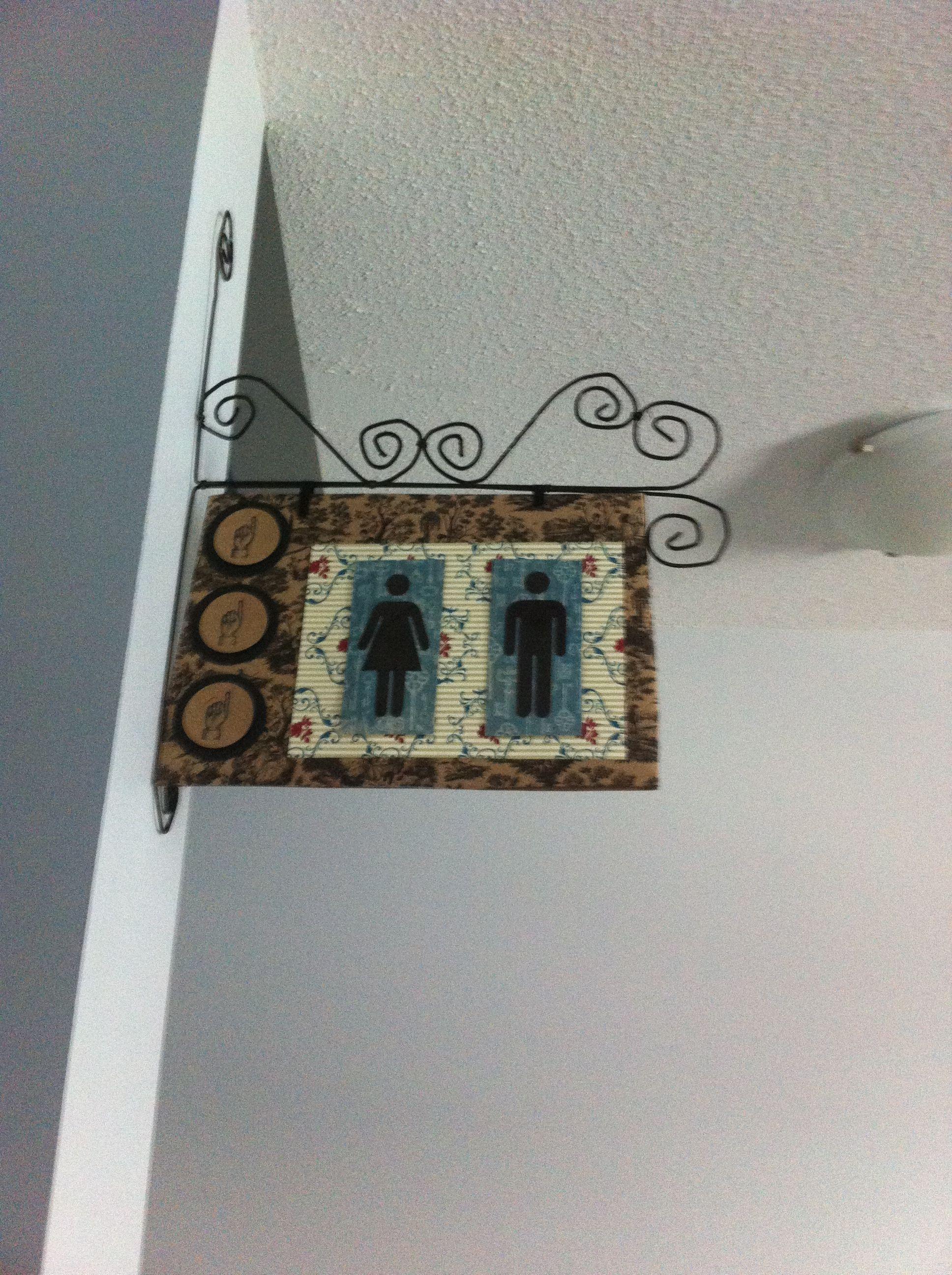 Restroom sign using coat hangers cardboard scrapbook paper and big