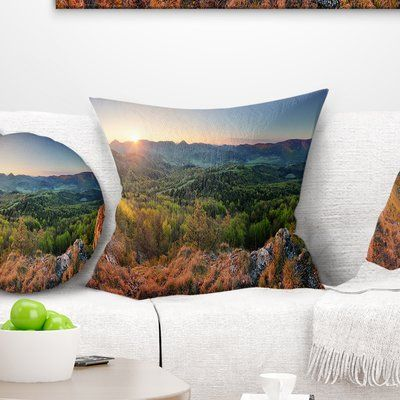 East Urban Home Landscape Spring Forest Slovakia Pillow Size 16 X 16 Product Type Throw Pillow In 2020 Spring Forest Outdoor Throw Pillows Landscape