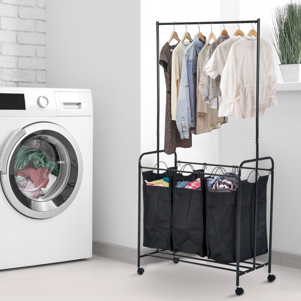 33 L 3 Bag Rolling Laundry Hamper Sorter Cart Clothes Organizer W