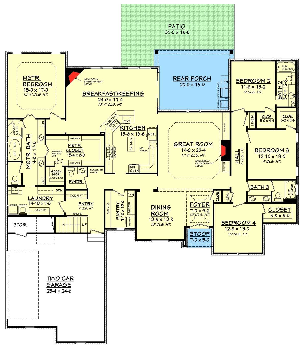 Plan 51729hz 4 bed acadian with side load garage bonus for Side load garage house plans