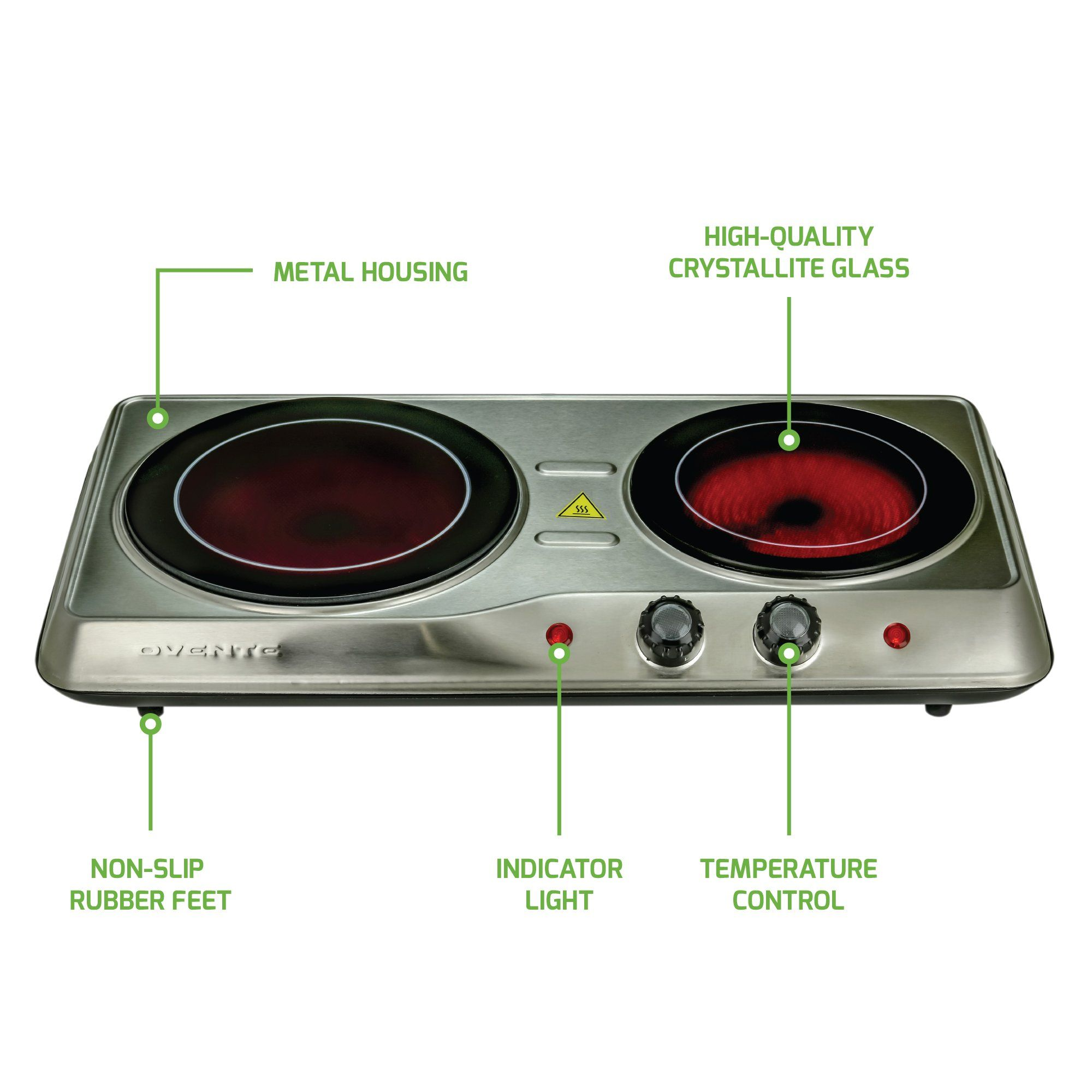 Ovente Countertop Burner Infrared Ceramic Glass Double Plate Cooktop Indoor And Outdoor Portable Stove 1700 Watts