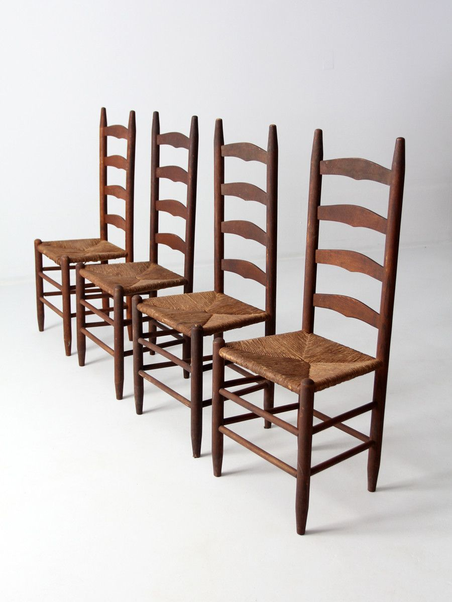 Exceptionnel Antique Ladder Back Chairs With Rush Seat