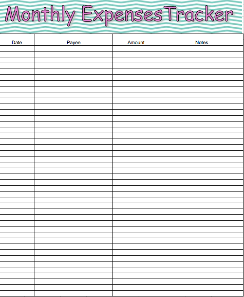 free monthly expense tracker