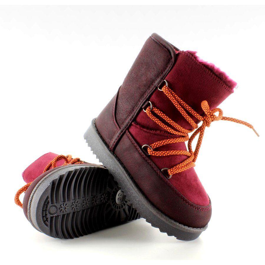 Dzieciece Sniegowce Ksiezycowe K1647403 Czerwone Boots Bean Boots Winter Boot