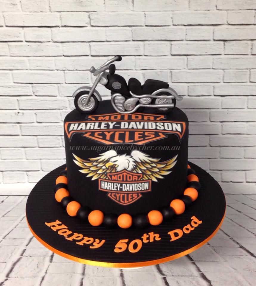harley davidson bike cake harley davidson topper 50th. Black Bedroom Furniture Sets. Home Design Ideas