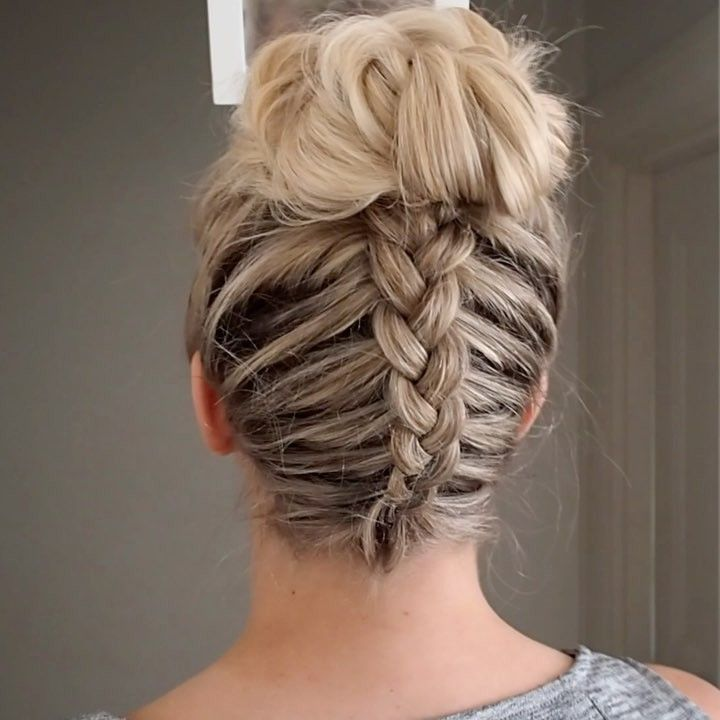 "Lydia On Instagram: ""Pressplay New Tutorial 💕Backwards Dutch Braid Into Messy Bun Hairtutorial Hair Hudabeauty Xxx"" - Hair Beauty"