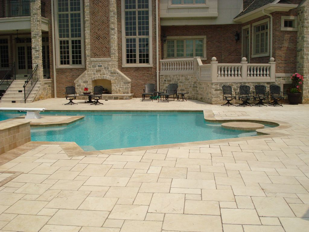 Marble Pool Decks Amazing Travertine And Trex Pool Deck St Louis  Google Search  Pool Area