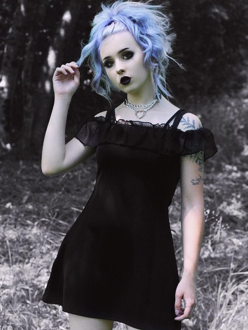 Punk Rave Black Gothic Lotus Leaf Casual Strap Short Dress