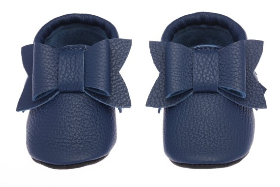 f52f6ffe420e1 Navy Blue Baby Moccasins Leather, Baby Shoes with Bow, Infant ...