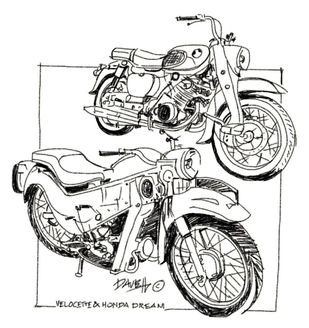 Velocette and Honda Dream from the 1950's & 60's. Digital