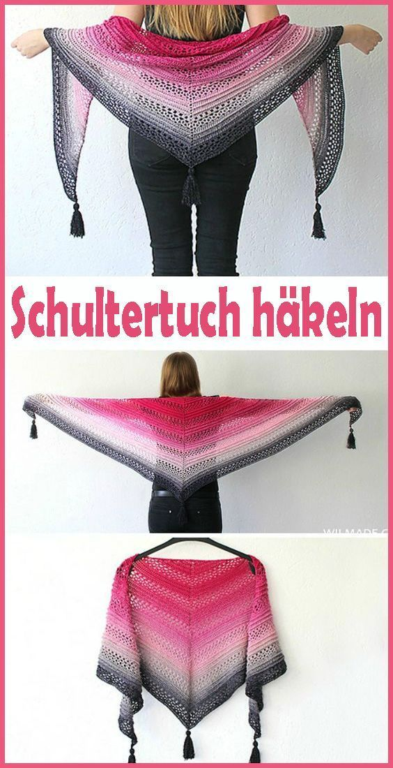 Photo of Crocheted shoulder / triangle scarf – free and simple instructions – Hä …, #Anleitun …