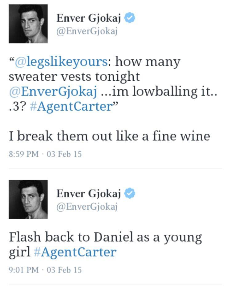 Enver Gjokaj tweets. #AgentCarter