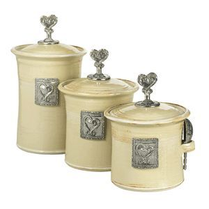 Crosby & Taylor Pewter Company - Canister Set - Hearts in Butter Pecan
