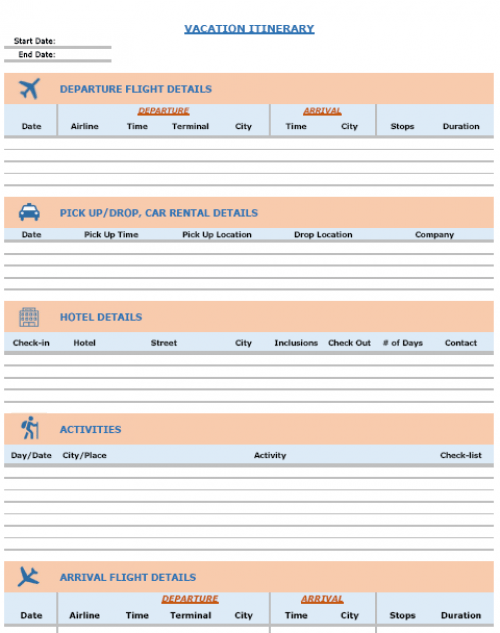 FREE Excel Templates Combo - Vacation Itinerary Planner ...