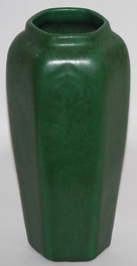 Weller Pottery Matte Green Six Sided Vase From Just Art Pottery