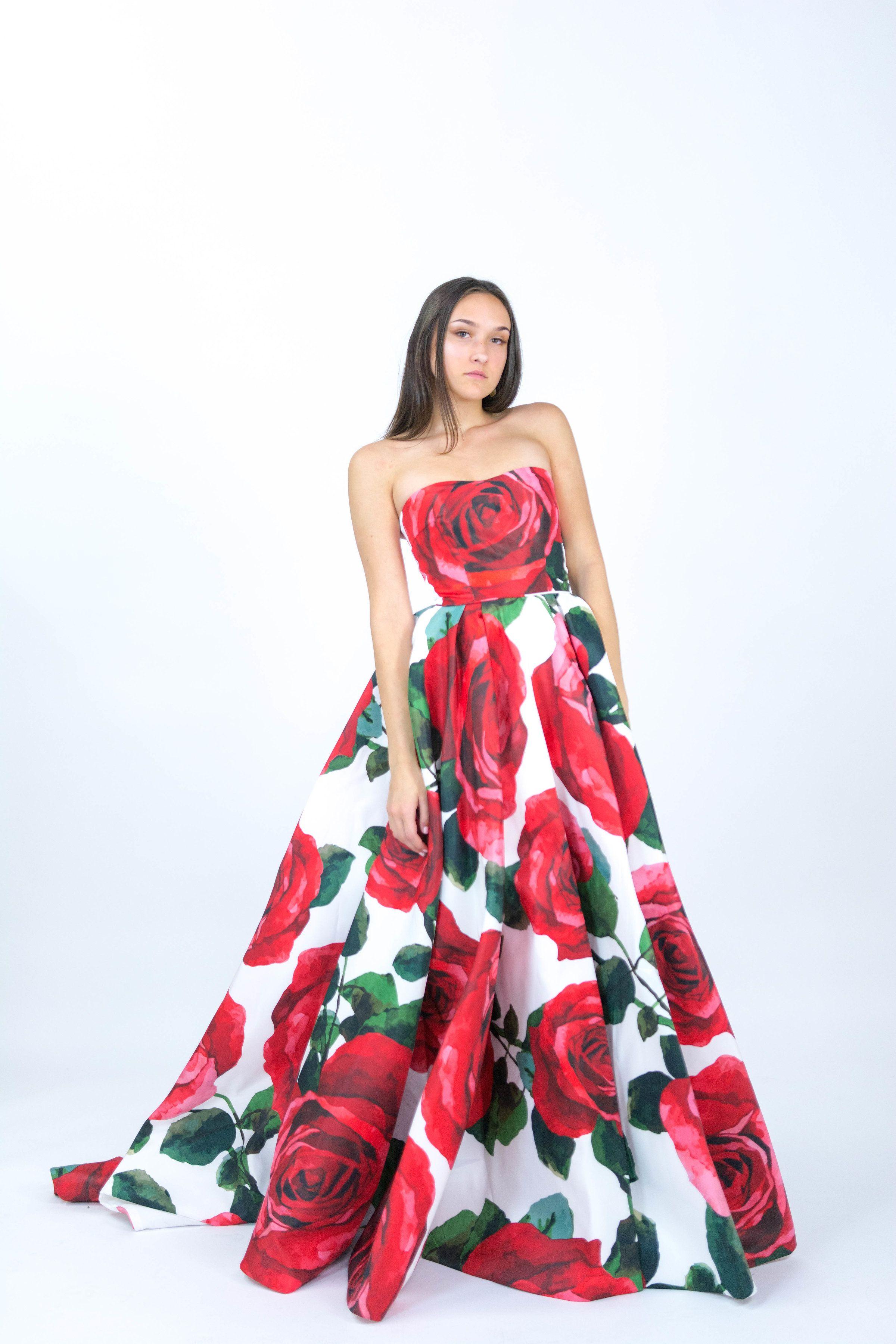 Sherri Hill Strapless Red Rose Floral Print Ballgown Ypsilon Dresses ...