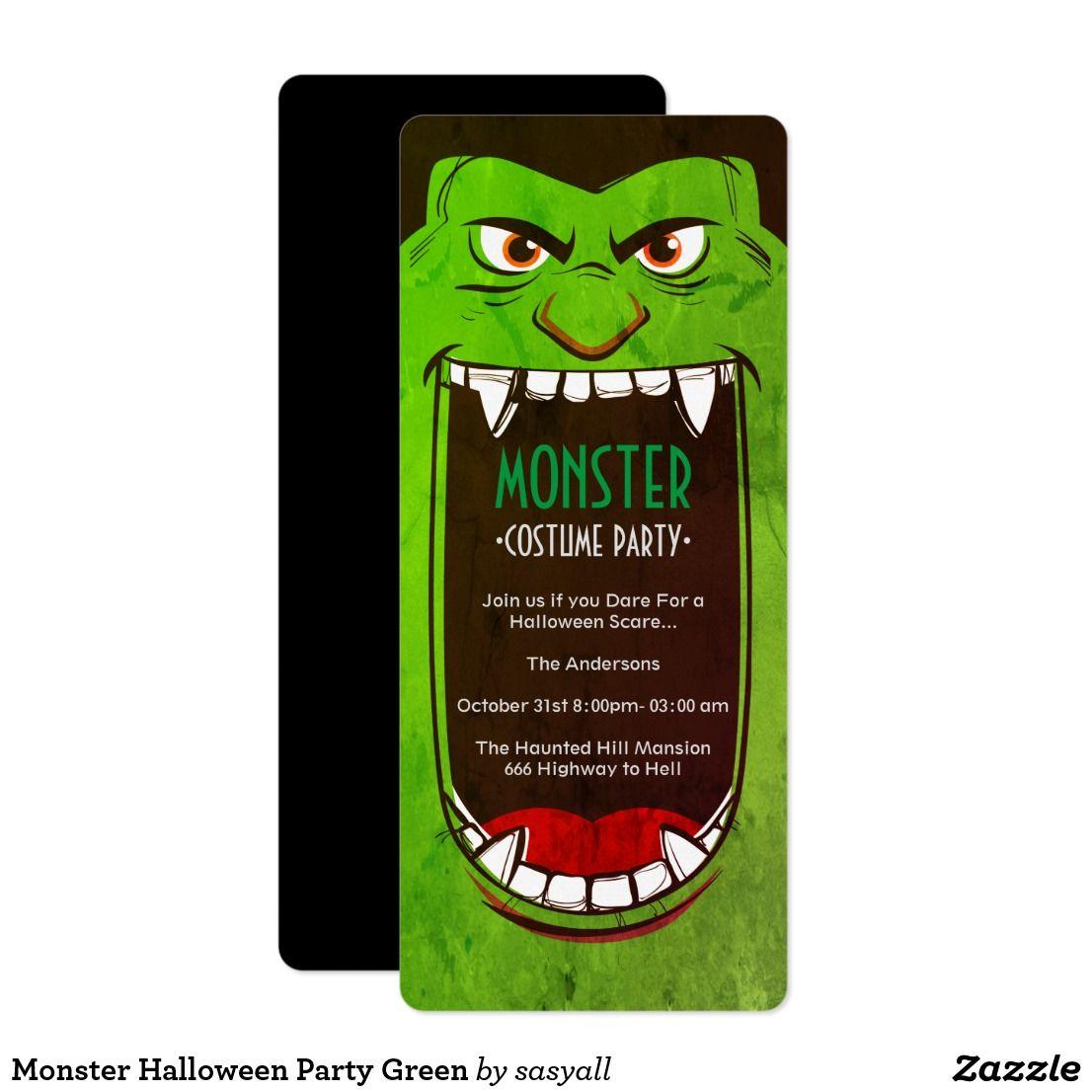 Monster Halloween Party Green Invitation