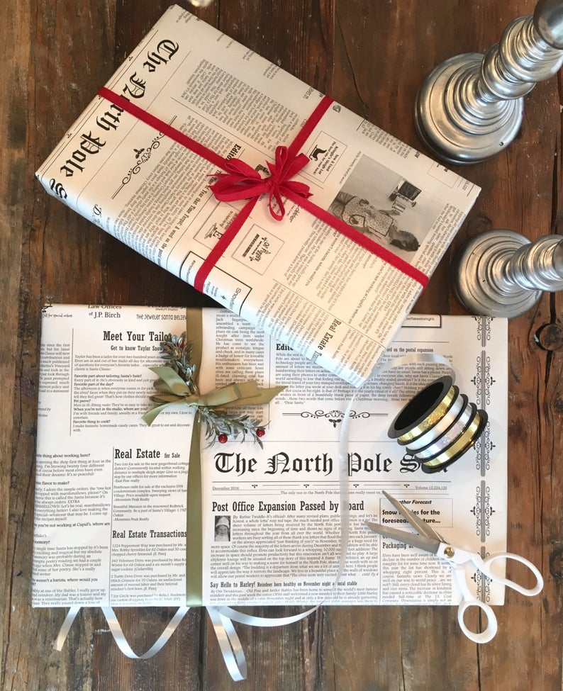 Newspaper Wrapping Paper Roll Cute Black And White North Etsy Newspaper Wrapping Newspaper Gift Unique Wrapping Paper