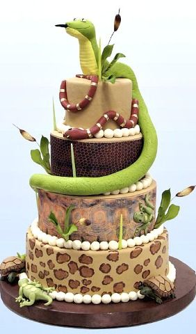 Awe Inspiring Reptile Themed Cake With Images Snake Cakes Animal Print Cake Funny Birthday Cards Online Amentibdeldamsfinfo