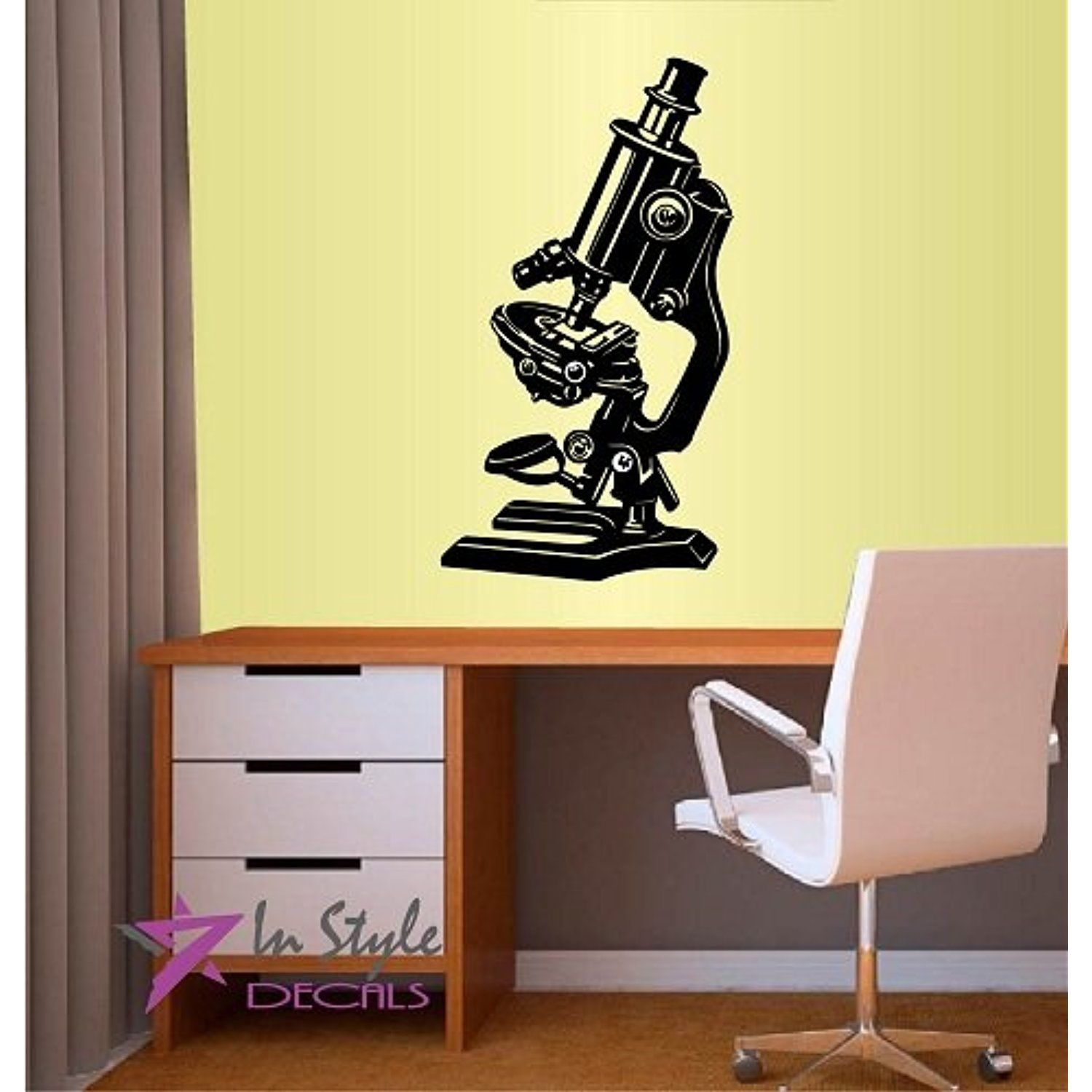 Wall Vinyl Decal Home Decor Art Sticker Science Microscope Room ...