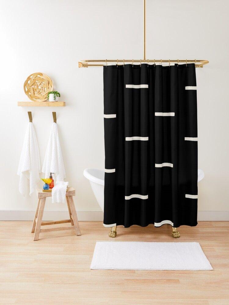 Black and white boho farmhouse minimalist shower curtain