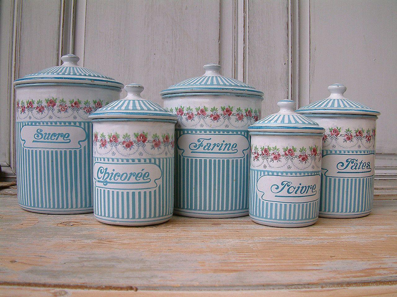 RESERVED for SPS !! enamel kitchen canister set. Rose garland ...