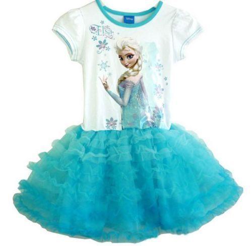 New Girls Kids Disney Frozen Princess Elsa Anna Tutu Dress