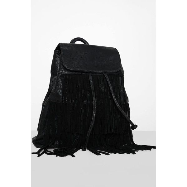 Glamorous Black Fringed Backpack (2.535 RUB) ❤ liked on Polyvore featuring bags, backpacks, black, leather backpack bag, leather daypack, genuine leather backpack, rucksack bags and real leather backpack