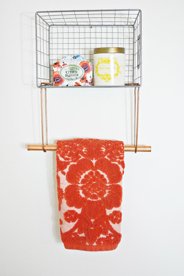Wire Basket Towel Rack Wire basket, Towels and Simple diy