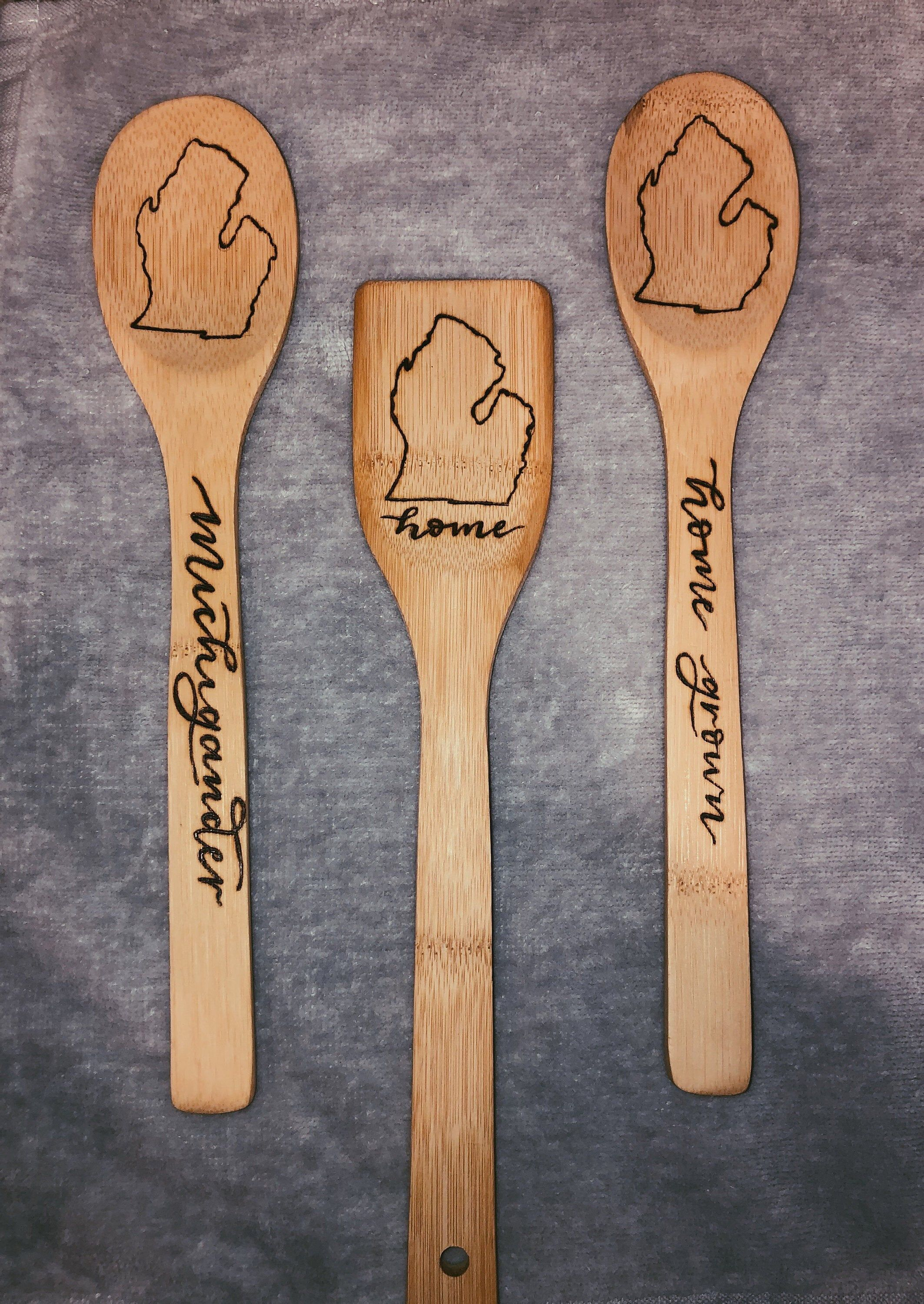 Wood Burned Michigan Spoons, Michigan Kitchen Ware, Michigan Spoons