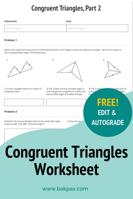 Free Congruent Triangles Geometry Worksheet In 2020 Geometry Worksheets Worksheets Online Learning