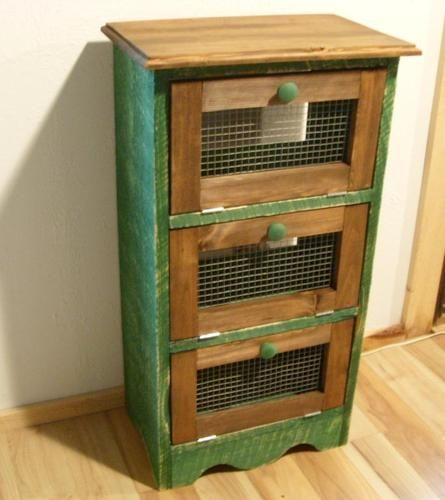 Rustic Country Vegetable Bin Potato Bread Box Primitive Cabinet ...