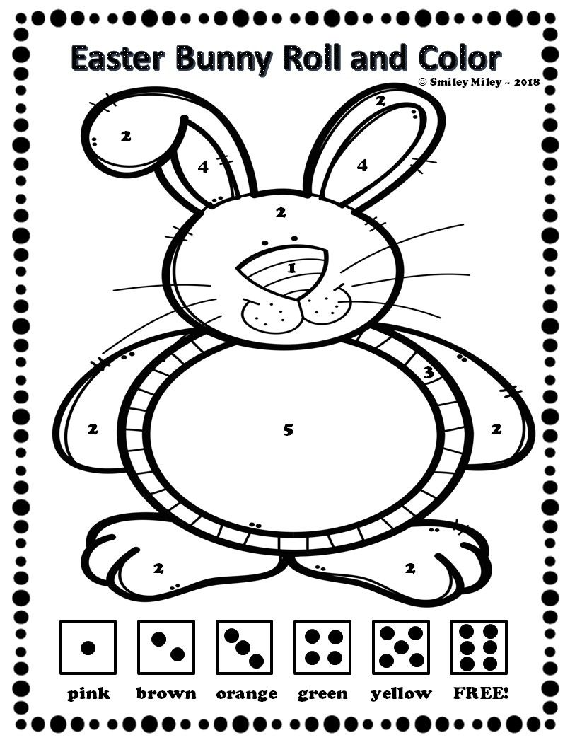Easter Bunny Roll And Color Spring Easter Preschool Easter Bunny Easter [ 1046 x 806 Pixel ]