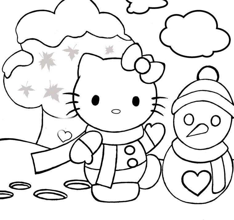 Disegni Di Natale Da Colorare Hello Kitty E Un Pupazzo Di Neve Con