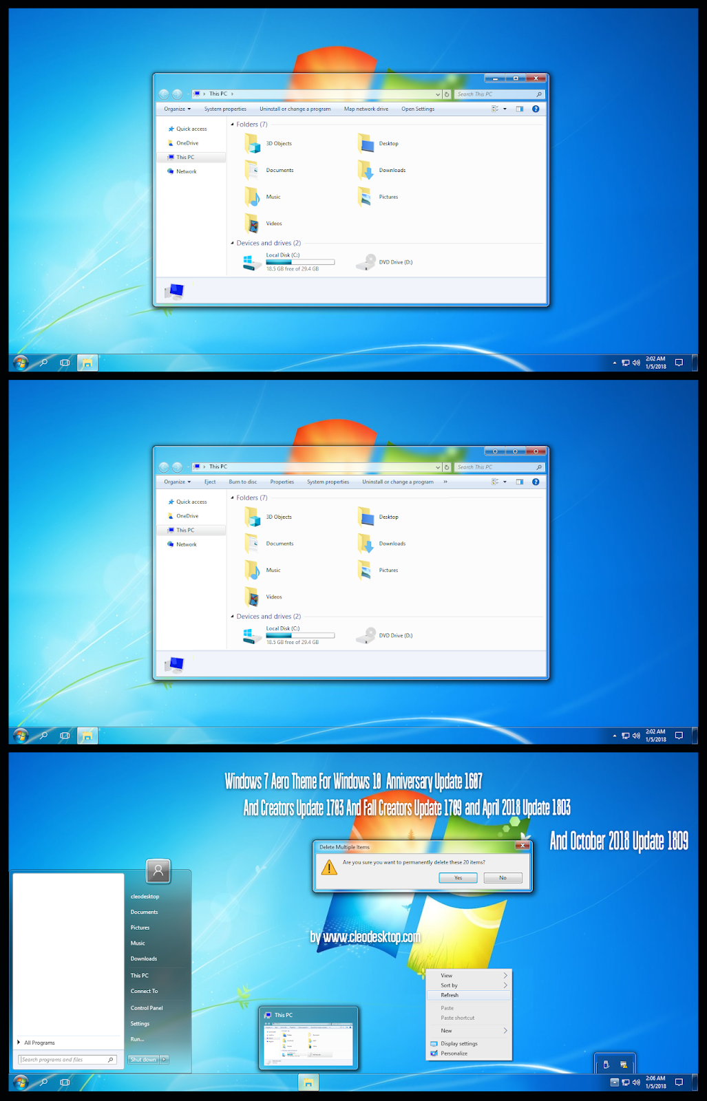 Windows 7 Aero Theme Windows10 October 2018 Update 1809 Windows10 Themes I Cleodesktop Windows Windows Aero Theme