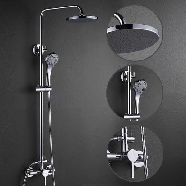 Contemporary Shower Faucet with 8 inch Shower Head + Hand Shower ...