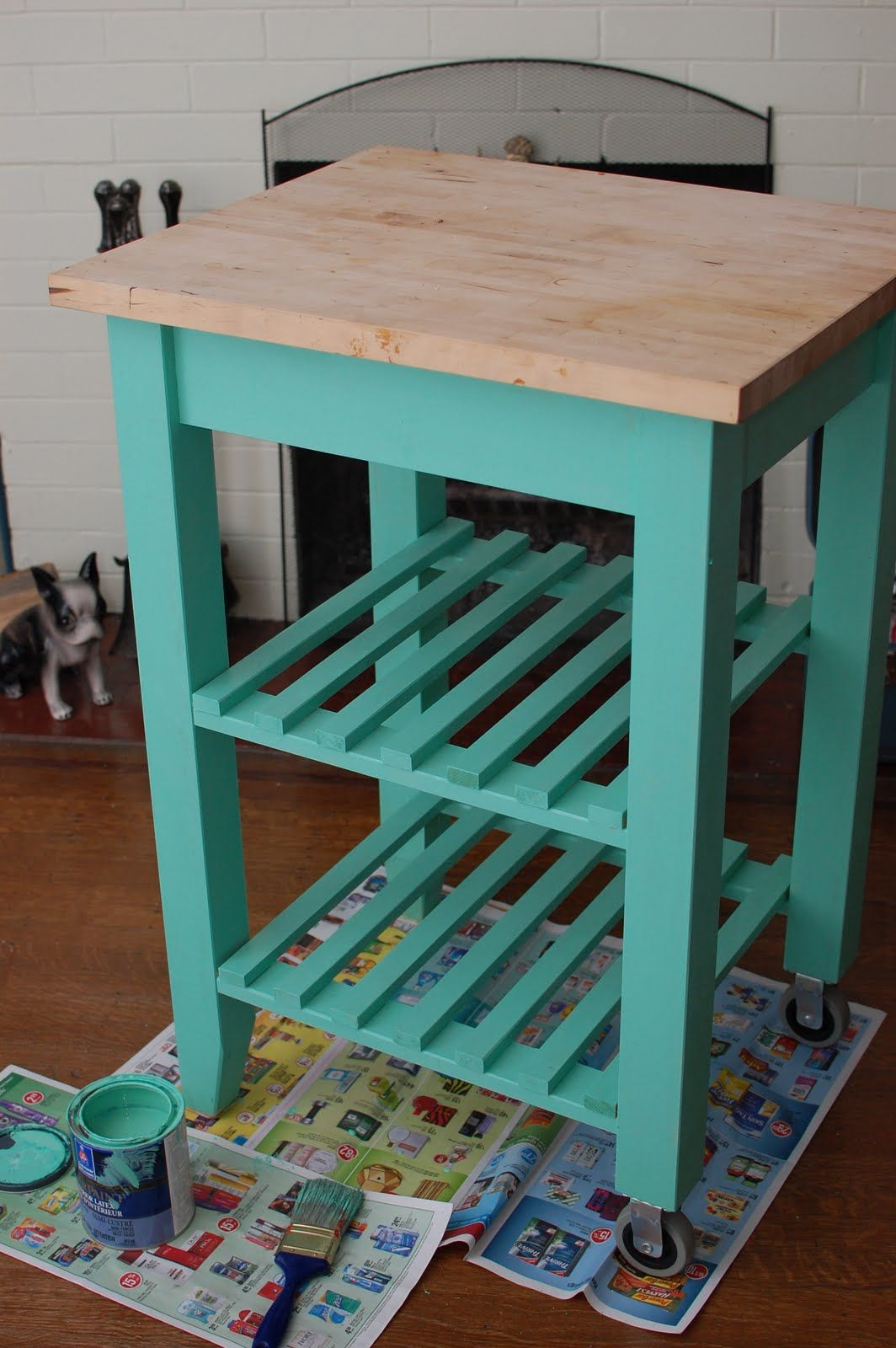 Kitchen Island On Wheels Ikea: Ikea Kitchen Cart Painted Aqua
