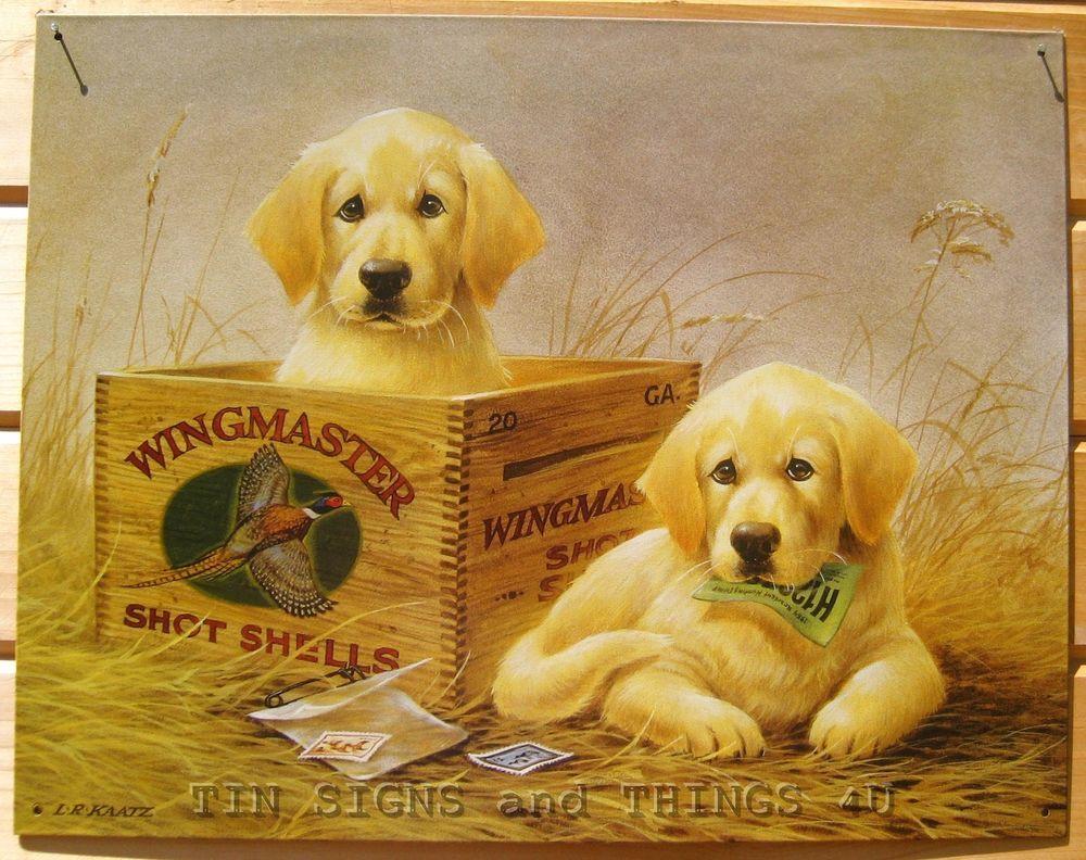 Yellow Labrador Wingmaster TIN SIGN vtg ammo ad retriever hunt dog ...