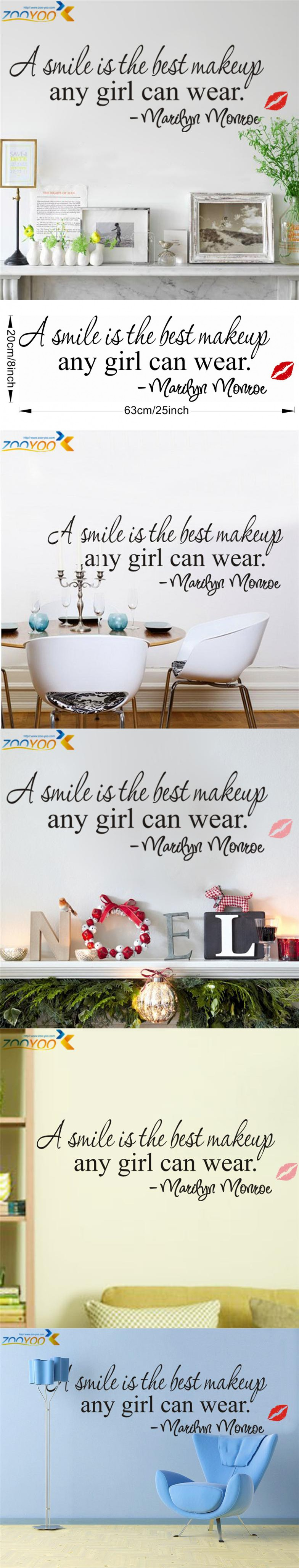 a smile is the best makeup home decor creative wall decals zooyoo8129 decorative adesivo de parede removable vinyl wall stickers $1.98