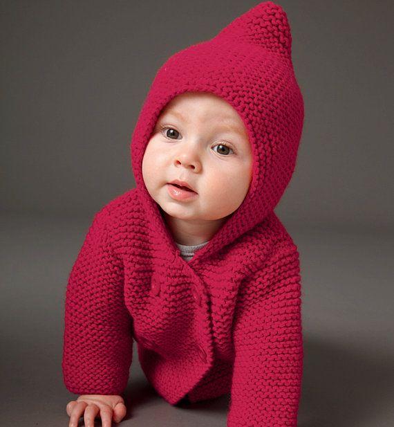 Hooded Coat Baby Boy Knits Toddler Knit Coat by TanyasBunnyTots