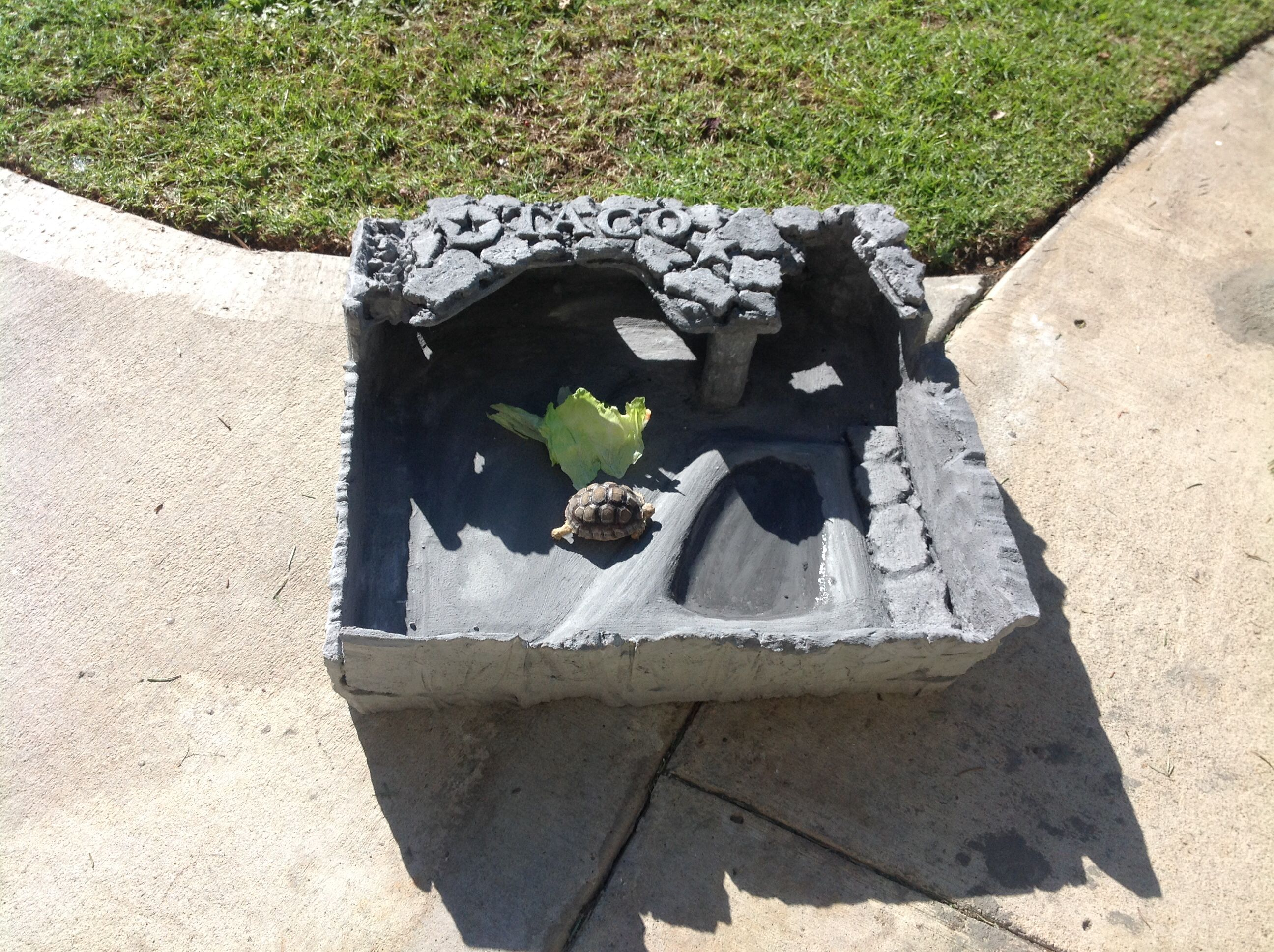 Tortoise habitat.  Made from eps foam and covered in foam coat to simulate stone.   Super light weight and durable.    Measures 24 by 24 inches.