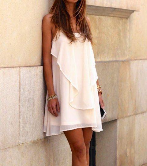 Short flowy date night dress in cream color | Summer Dresses ...