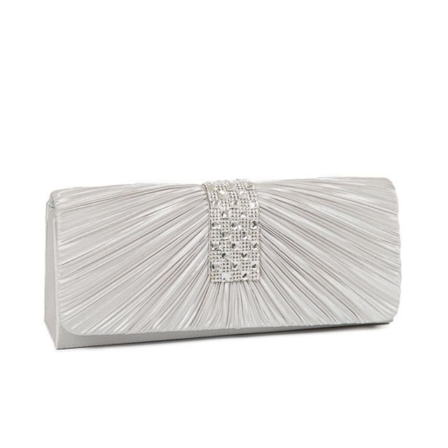 Satin Rhinestone Bridal Prom Evening Bag Clutch Purse White Black Purple Silver Eveningbag