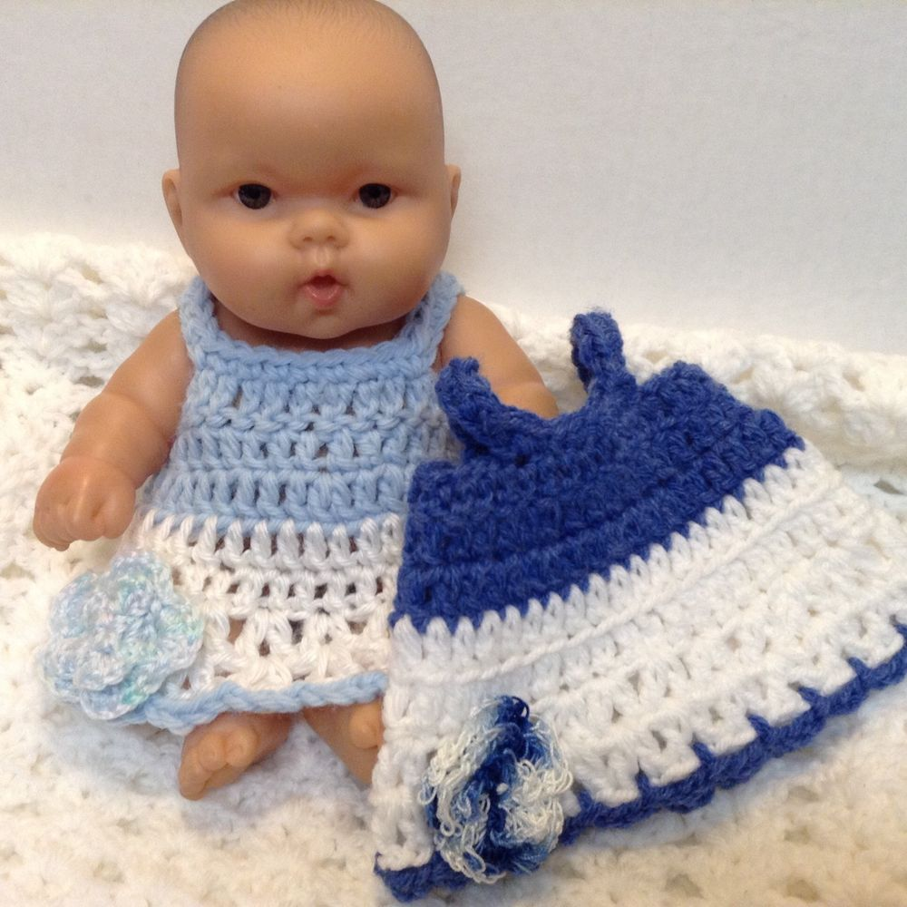10 Inch Doll Clothes 2 Dresses Fits Berenguer Lots To Love Handmade Blue White With Images Doll Clothes Clothes Fitted Dress