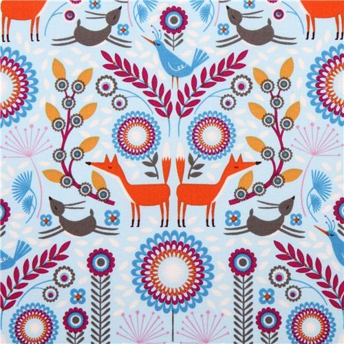 blue forest animal fabric Nordic Woodland Forest Frolic Timeless Treasures - Animal Fabric - Fabric - kawaii shop modeS4u