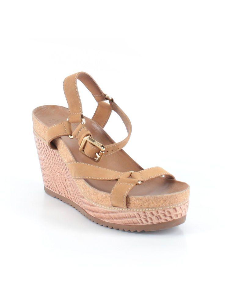 f915f061ee1 Women Tory Burch Brenden Tan Suede Croc Wedge High Heel Shoe Size 11 ...