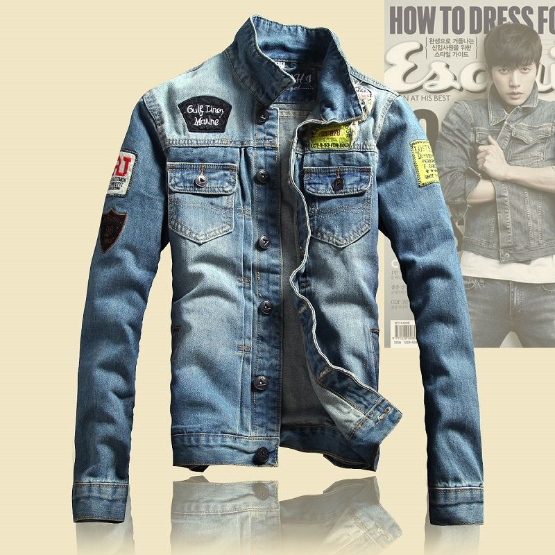 Hot Men/'s slim denim jackets coat washed retro jean jacket Spring couple coat